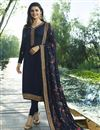 image of Prachi Desai Georgette Navy Blue Straight Cut Suit With Work
