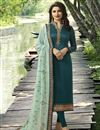 image of Prachi Desai Teal Color Straight Cut Salwar Suit With Work In Georgette