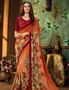 image of Printed Orange Office Wear Georgette Saree With Blouse