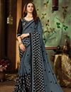 image of Grey Fancy Saree With Printed On Georgette Fabric