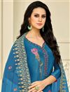 photo of Party Style Sky Blue Art Silk Fabric Palazzo Suit With Embroidery Work