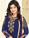 photo of Festive Special Ayesha Takia Georgette Navy Blue Straight Cut Suit With Embroidery Work