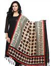 image of Attractive Beige And Black Printed Khadi Fabric Dupatta