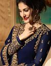 photo of Elating Embroidery On Georgette Party Wear Floor Length Anarkali Suit In Navy Blue