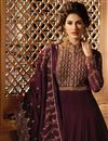 photo of Georgette Embroidery Designs On Maroon Occasion Wear Floor Length Anarkali Dress