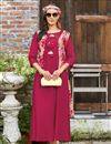 image of Daily Wear Crimson Printed Kurti In Rayon Fabric