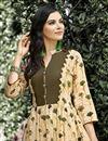 photo of Regular Wear Cream Printed Kurti In Rayon Fabric