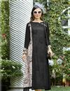 image of Black Color Designer Kurti In Rayon Fabric