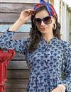 photo of Regular Wear Navy Blue Printed Kurti In Rayon Fabric