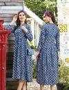 image of Regular Wear Navy Blue Printed Kurti In Rayon Fabric