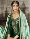 photo of Art Silk Party Wear Salwar Suit In Dark Green With Embroidery Work