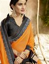 photo of Georgette Party Wear Orange Embroidered Fancy Saree