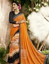 image of Georgette Party Wear Orange Embroidered Fancy Saree