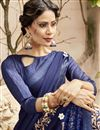 photo of Party Style Navy Blue Georgette Fancy Embroidered Saree