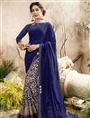image of Party Style Navy Blue Georgette Fancy Embroidered Saree