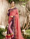image of Embroidered Party Wear Fancy Saree In Pink Georgette