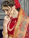 photo of Party Wear Embroidered Cotton Silk Red Fancy Saree
