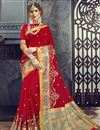 image of Party Wear Embroidered Cotton Silk Red Fancy Saree