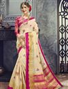 image of Chikoo Color Party Wear Cotton Silk Embroidered Fancy Saree