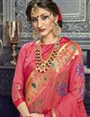 photo of Party Style Cotton Silk Peach Fancy Embroidered Saree