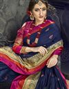 photo of Navy Blue Party Style Cotton Silk Embellished Fancy Saree