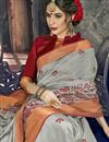 photo of Party Wear Embroidered Grey Cotton Silk Fancy Saree