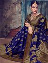 photo of Festive Special Jacquard Work On Navy Blue Art Silk Function Wear Saree