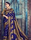 image of Festive Special Jacquard Work On Navy Blue Art Silk Function Wear Saree