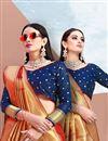photo of Art Silk Red Wedding Wear Saree With Jacquard Work