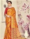 image of Mustard Banarasi Silk Saree With Jacquard Work And Beautiful Blouse
