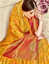 photo of Jacquard Work On Mustard Banarasi Silk Party Wear Saree With Enticing Blouse