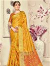 image of Jacquard Work On Mustard Banarasi Silk Party Wear Saree With Enticing Blouse