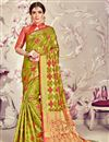 image of Mehendi Green Jacquard Work Banarasi Silk Party Wear Saree With Attractive Blouse