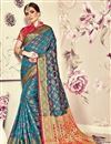 image of Jacquard Work On Sky Blue Banarasi Silk Festive Wear Saree With Designer Blouse