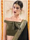 photo of Lace Work Designs On Chiffon Black Party Wear Saree