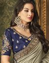 photo of Art Silk Party Wear Saree In Cream With Embroidery Work And Beautiful Blouse