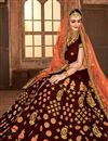 photo of Wedding Function Wear Maroon Lehenga With Embroidery In Satin Silk