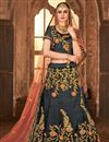 image of Fancy Embroidered Satin Silk Grey Sangeet Wear Designer Lehenga Choli