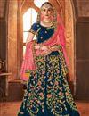 image of Wedding Wear Fancy Embellished Satin Silk Navy Blue Designer Lehenga