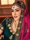 photo of Fancy Embroidered Dark Green Satin Silk Sangeet Wear Designer Lehenga Choli