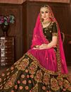 photo of Wedding Wear Fancy Embellished Coffee Color Satin Silk Designer Lehenga