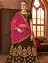 image of Wedding Wear Fancy Embellished Coffee Color Satin Silk Designer Lehenga