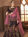 image of Wine Color Wedding Function Wear Satin Silk Embroidered Lehenga Choli