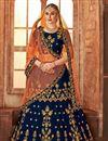 image of Navy Blue Satin Silk Reception Wear Fancy Embellished Lehenga Choli