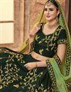 photo of Dark Green Wedding Function Wear Satin Silk Embroidered Lehenga Choli