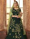 image of Dark Green Wedding Function Wear Satin Silk Embroidered Lehenga Choli