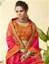 photo of Classic Rani Color Occasion Wear Embroidered Saree In Art Silk