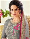 photo of Grey Function Wear Palazzo Dress In Art Silk With Embroidery