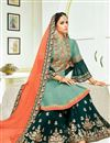 photo of Festive Wear Art Silk Embroidered Cyan Palazzo Suit