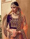 photo of Velvet Fabric Reception Wear Purple Designer Lehenga Choli